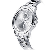 Men's White Case SIlver Stainless Steel Leather Band Wrist Dress Watch