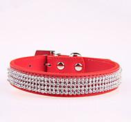 Chien Colliers Ajustable/Réglable / Strass Rouge / Noir / Bleu / Incanardin / Rouge Rose Cuir PU