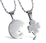 Homme Femme Couple Pendentif de collier Trèfle à quatre feuilles Alliage Bijoux Pour Mariage Soirée 1 paire