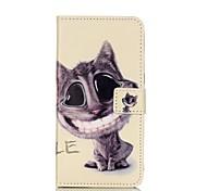 motif de chat étui en cuir PU avec fente pour carte et reposer bord à bord / s6 / edge s6 samsung galaxy s, plus