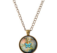 Lureme® Time Gem Series Elegant Style Key and Butterfly Disc Charm Necklace for Women and Girl