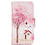 Trees and Houses Painted PU Phone Case for iphone5SE