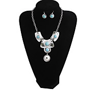 European And American Folk Style Retro Miao Silver Turquoise Necklace Earrings Set