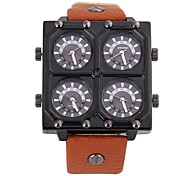 Men's Military Fashion Four Time Zones Black Leather Band Quartz Watch Cool Watch Unique Watch