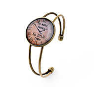 Lureme® Simple Jewelry Time Gem Series Pocket Watch Disc Charm Open Bangle Bracelet for Women and Girl