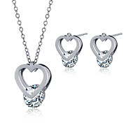 Jewelry Necklaces Earrings Necklace/Earrings Steel Heart Fashion Wedding Party Daily Casual Zircon Titanium Steel 1set Women Couples