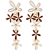 18K Gold Oil Flower Security Quality Stud Earrings Jewelry for Wedding Party