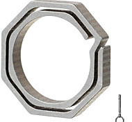 FURA Octagonal Titanium Alloy Key Ring - Champagne + Grey (Small Size)