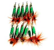 "10pcs pçs Iscas Iscas Buzzbait & Spinnerbait Verde Escuro g/Onça,60mm mm/2-1/3"" polegada,Metal Pesca de Isco"