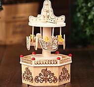 merry-go-round per la musica Elise scatola di legno beige