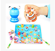 Wooden Children 3D Magnetic Stereo Fishing Toy Set Baby Puzzle Toys