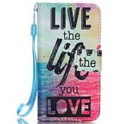 PU-Mappe Ledertasche mit Lanyard und Kartensteckplätze stehen für iphone / 5 / 5s se - das Leben leben, Drucken