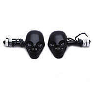2 X Motorcycle Amber 4 Led Skull Turn Signal Light Bulb Lamp Dc12V Black