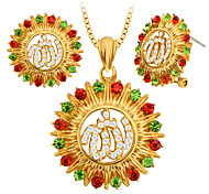 Special Design Alpha Sunflower Colorful Crystal Necklace&Earrings Jewelry Set for Women Gift S20157