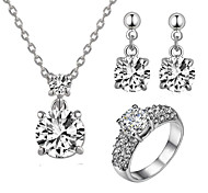 T&C Women's Bridal Jewelry 2 Carat Cubic Zirconia Simulated Diamond Pendant Necklace Earrings Ring Sets