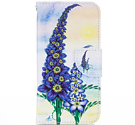 Purple Flower PU leather with Stand Case for Samsung S5
