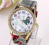 patrón de mariposa grande reloj de línea de impresión del diamante coreano de la manera del reloj de señoras