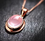 925 Fine Silver AAA Zircon Pink Crystal Heart Love Pendant NecklaceImitation Diamond Birthstone