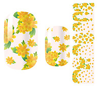 Fashion Beautiful Chrysanthemum Yellow Flower Nail Decal Art Sticker Gel Polish Manicure