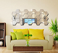 Three-dimensional Hexagonal Box Mirror Wall Stickers 12PCS