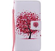 Red Tree Lanyard Painted PU Phone Case for Huawei P9/P9lite