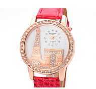 Women's Fashionable  Leisure Large Diamond Dial Quartz Watch Leather Band
