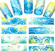 8pcs  Nail Art Water Transfer Stickers Beautiful Blue Sea And Blue Sky Scenery Fashion C200-203