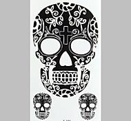 tatuaje de la manera cráneo negro pegatinas impermeable tatuaje