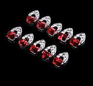 abstrato cristal mentais quadrado de jóias de prego vermelho