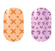 orange / violet creux ongles autocollants