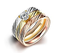 Fashion Simple Unisex  Slant Stripes White Zircon Gold-Plated Titanium Steel Couple Rings(Golden,Rose Gold,Silver)(1Pc)