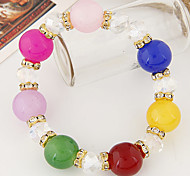 Summer European Style Fashion Metal Colorful Candy Beads Strand Bracelets