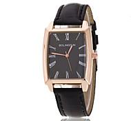 montre-bracelet de forme rectangulaire dames rose bague or avec plaque noire montre pu quartz (couleurs assorties)