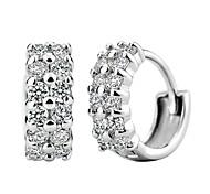 925 Sterling Silver Double Row Diamond Allergy Free Earrings