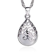 Opal Vintage Pattern Waterdrop Sterling Silver CZ Beads Necklace Pendant Necklaces Daily / Casual 1pc