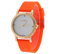 Women's European Style Fashion Printing Flower Dial Silicone Fashion Watch Cool Watches Unique Watches
