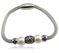 Net Wire Pearl Charms Stainless Steel Bracelets
