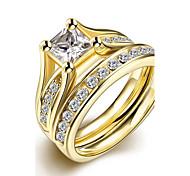 original weißen Zirkon exquisite unisex vergoldet Titan Stahl Paar Ringe (goldene) (1set) Schmuck