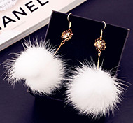 Korean version of the hollow spherical plush pendant alloy earrings