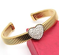 Gold Plated Full Stone Stainless Steel Snake Pattern Cuff Bangle