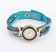 Women's New European Style Retro Fashion Twist Leather Rhinestone Braided Bracelet Watch Cool Watches Unique Watches