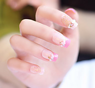 24pcs/set Fake Nails False Nail Finished Manicure Nails Tips Pink Love Shape