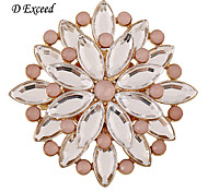 D Exceed Pink Round Alloy Silver Plated Brooches Pins Acrylic Beads Inlaid Jewelry Accessories Brooches Pins