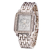 Lady's Stainless Steel Silver Band Analog Bracelet Wrist Watch Jewelry for Wedding Party