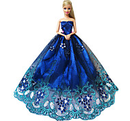 Barbie Doll Elegant Sapphire Evening Party Dress