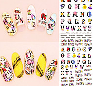 DS067 Nail Design Water Transfer Nails Art Sticker Harajuku Letters Nail Wraps Sticker Watermark Fingernails Decals