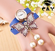 Women's  European Version Of The 2 Circle Butterfly Pearl Chain Gold Watch(Assorted Colors)