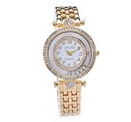 Women's Fashion Watch Simulated Diamond Watch Imitation Diamond Quartz Alloy Band Yellow