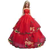 Stile Principessa Abiti Per Barbie Doll Rosso Abiti Per Girl Doll Toy