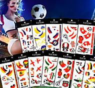 5pcs Taça de 2016 fãs de futebol bandeira colorida tatuagem tatoo arte corporal rosto dos homens das mulheres de 12 países escolha euro